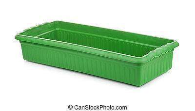 vert, plateau plastique, vide, plant