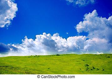 vert, prairie, et, nuages