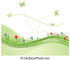 vert, printemps, champ, 2