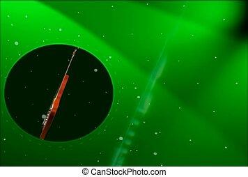 vert, projecteur, instrument