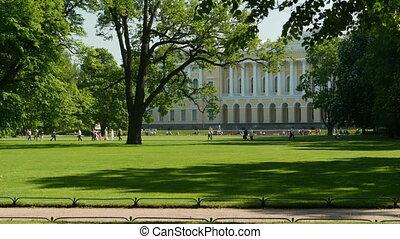 vert, promenade, parc, ombre, gens