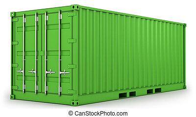vert, récipient, isolé, fret