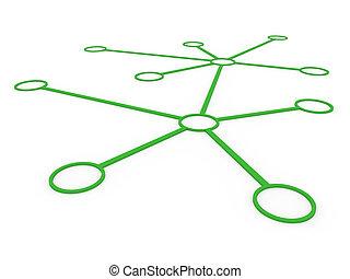 vert, réseau, 3d