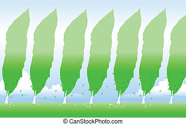 vert, revêtu, arbre
