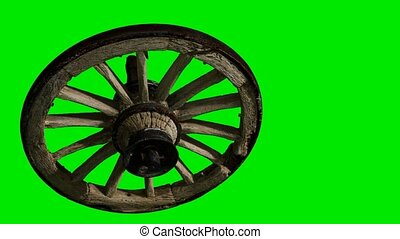 vert, roue, bois, chromakey, vieux, fond