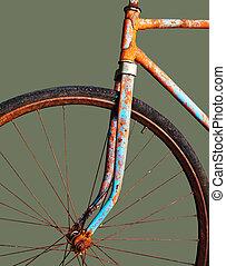 vert, rouillé, vieille bicyclette, isolé
