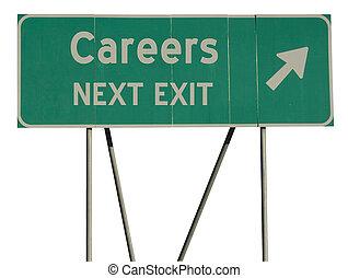 vert, route, carrières, signe
