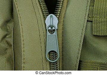 vert, sac à dos, métal, fermeture éclair, une