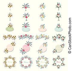 vert, saison, ensemble, cadre, branch., concept., leaves., carte, printemps, invite., rose, blanc, herb., mariage, affiche, fleur, floral