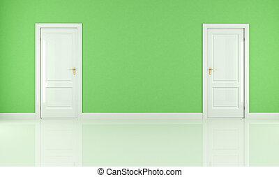 vert, salle, vide