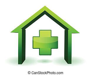 vert, santé, croix, maison