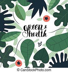 vert, santé, lettrage