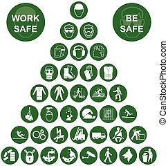vert, santé, pyramide, ico, sécurité