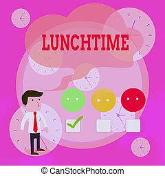 vert, satisfaction, repas, après, petit déjeuner, lunchtime...