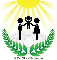 vert, silhouette, famille, f