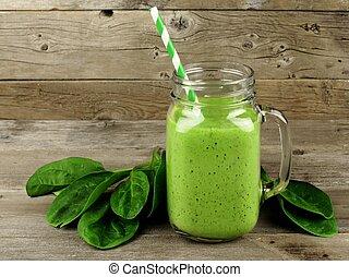 vert, smoothie, à, épinards, sur, bois