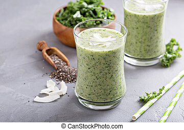 vert, smoothie, à, banane, chia, et, chou frisé