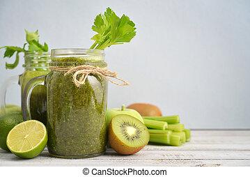 vert, smoothie, à, céleri