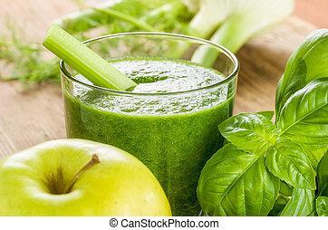 vert, smoothie, à, frais, ingrédients