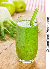 vert, smoothie, à, pomme, et, fenouil