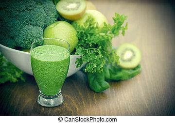 vert, smoothie, -, boisson saine, (beverage), et, ingrédients