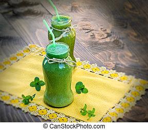 vert, smoothie, -, boisson saine