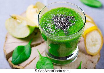 vert, smoothie, boisson saine