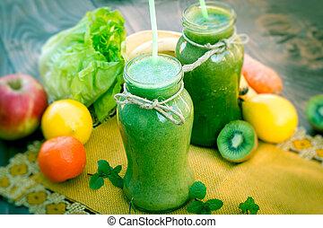 vert, smoothie, -, boisson saine, plein vitamines, et, minéraux