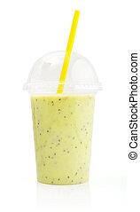 vert, smoothie, dans, plastique, transparent, tasse