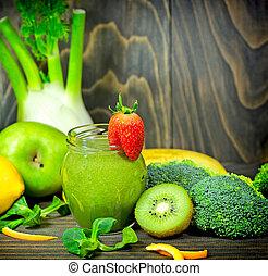 vert, smoothie, dans, pot