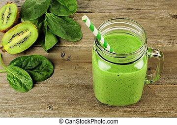 vert, smoothie, dans, pot, vue descendante
