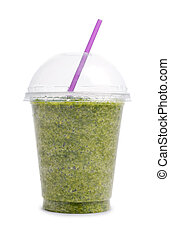 vert, smoothie, dans, tasse plastique