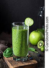 vert, smoothie, dans, verre