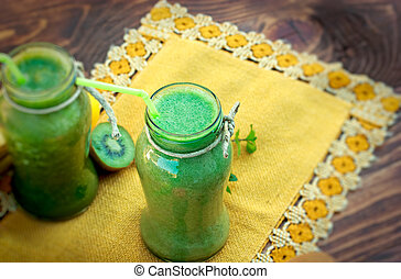 vert, smoothie, -, grand plan