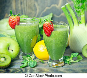 vert, smoothie, -, sain, boisson