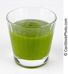 vert, smoothie, verre