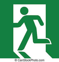 vert, sortie, signe cas imprévu