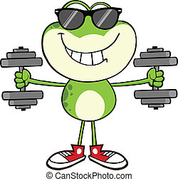vert, sourire, lunettes soleil, grenouille