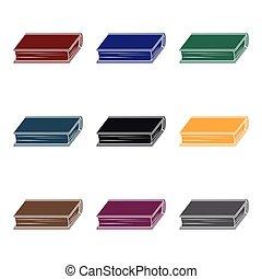 vert, style, illustration., symbole, isolé, arrière-plan., vecteur, livres, noir, blanc, icône, livre, stockage