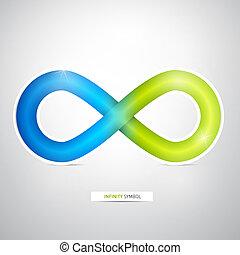 vert, symbole, infinité, résumé, bleu