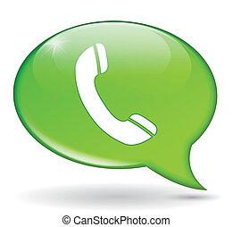 vert, téléphone, bulle
