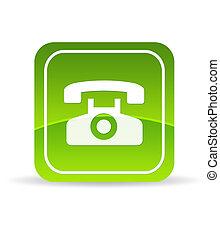 vert, téléphone, icône