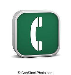 vert, téléphone, signe