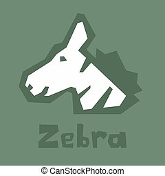 vert, tête, contour, anglaise, carte, amical, alphabet, style, arrière-plan., vecteur, text., plat, design., look., dessin animé, épais, apprentissage, zebra, interactif, zebra, isolé, simple