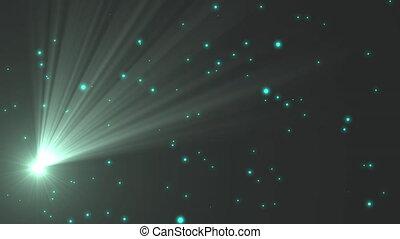 vert, taches, animation, étoiles, errant, fond, noir,...