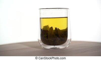 vert, tasse, verre, thé