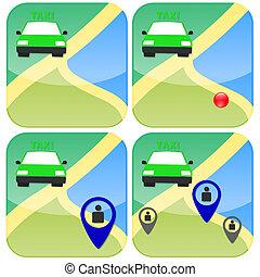 vert, taxi
