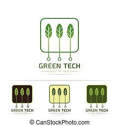 vert, technologie, logo