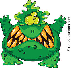 vert, terrible, monstre