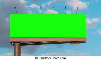 vert, timelapse couvre, -, vide, ciel blanc, contre, bleu, en mouvement, panneau affichage